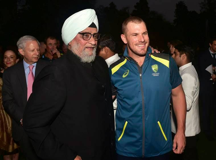 Former India cricket captain Bishan Singh Bedi and Australian cricket captain Aaron Finch during a reception hosted by Australian High Commissioner, in New Delhi.