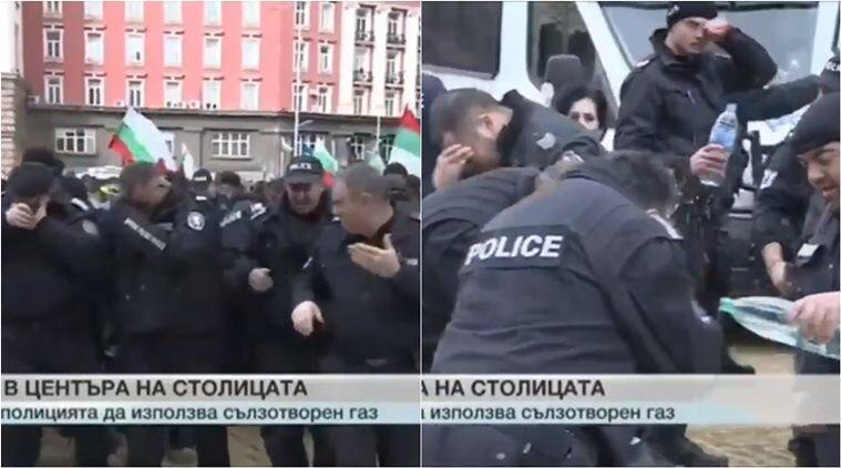 bulgaria police, bulgaria protest, police pepper spray themselves, viral videos, funny videos, epic fail videos, police fail videos, work fail videos, indian express