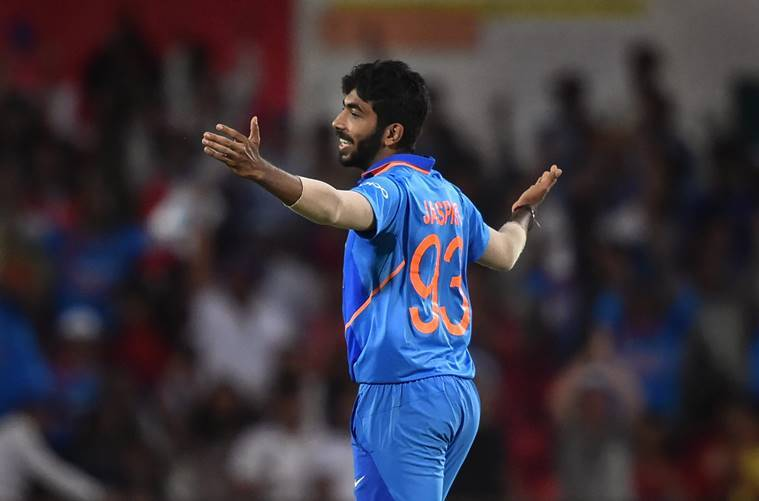 Jasprit Bumrah celebrates the dismissal of Australia's Nathan Coulter-Nile during the 2nd ODI cricket match at Vidarbha Cricket Association Stadium, in Nagpur