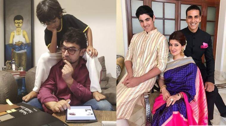 Aamir Khan with son Azad, Akshay Kumar and Twinkle Khanna with son Aarvav