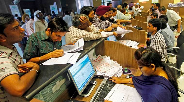 Man submitting income tax returns