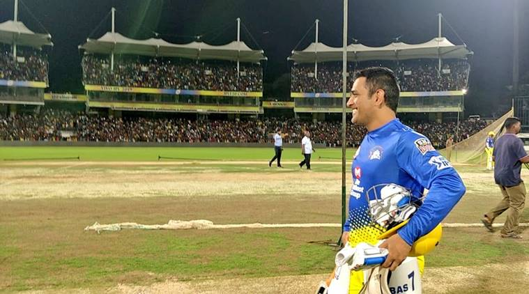 MS Dhoni during a practice session for Chennai Super Kings at MA Chidambaram Stadium in Chennai