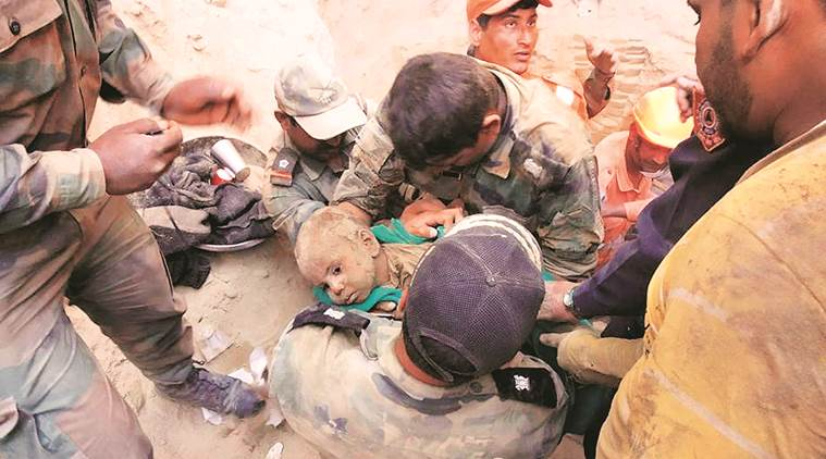 punjab, toddler rescued, toddler rescued form borewell, hisar, construction worker,ndrf, national disaster response team, punjab news, indian express news