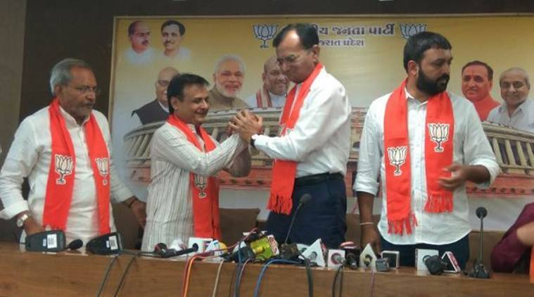 Jawahar Chavda joined the BJP after he resigned as Congress MLA on Friday. (Express photo)