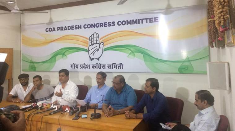 The Congress committee in Goa addressed the media on Sunday. (Express photo)