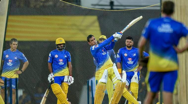 Chennai Super Kings players MS Dhoni, Suresh Raina and Ambati Rayudu ahead of Indian Premier League T20-2019 cricket tournament at MAC stadium, in Chennai