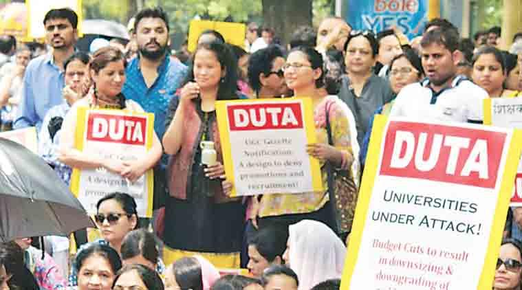 DUTA, du teachers strike, hunger strike, teachers salary, delhi university news, du news, education news,