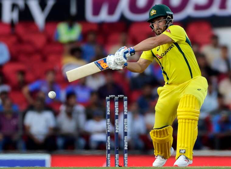 Australia's Aaron Finch bats during second one-day international cricket match between India and Australia in Nagpur, India