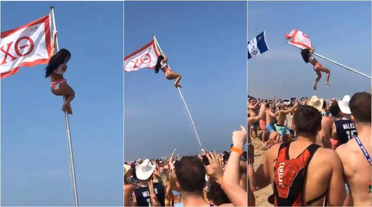 flag pole girl, south padre island party, college student falls sorority girl, funny video, viral video, indian express