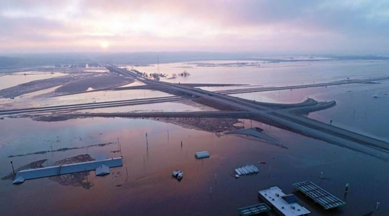 floods, floods in united states, united states, midwest, floods in midwest, nebraska, wisconsin, south dakota, winter, world news, indian express news