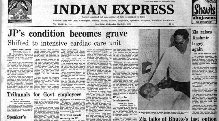 The Indian Express' Front Page on March 28, 1979