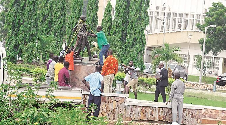 Debate Rages On About Gandhi's Legacy In Africa Gandhi statue in Ghana to be relocated 3 months after it was pulled down