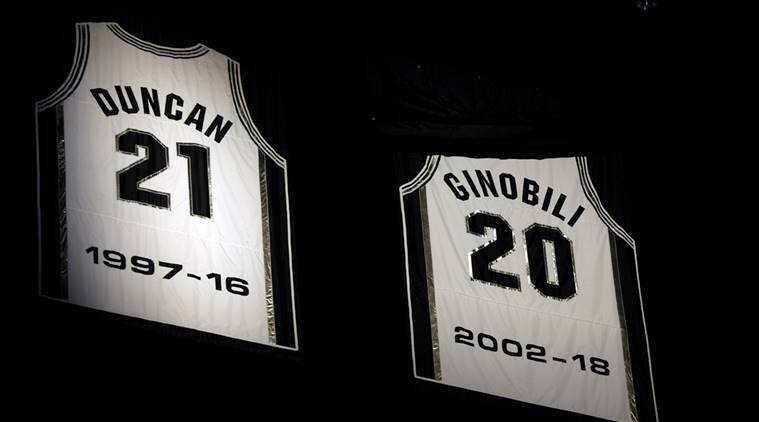 0c107e00259 The jersey of San Antonio Spurs former player Manu Ginobili is unveiled  during a jersey retirement
