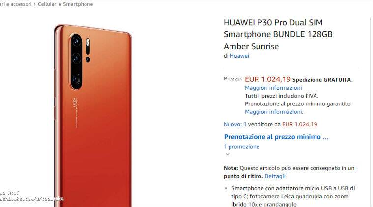 Huawei P30 Pro key specifications, price leaked in Amazon listing