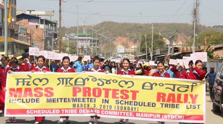 Thousands of people took to the streets to demand the immediate inclusion of the Meitei community in the ST list on Sunday.