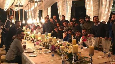 Indian cricket team in Ranchi for dinner