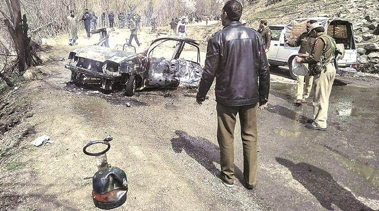 J-K: Car hits CRPF bus and explodes on Jammu-Srinagar highway, driver missing