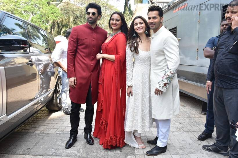 varun, alia, sonakshi and aditya at kalank launch