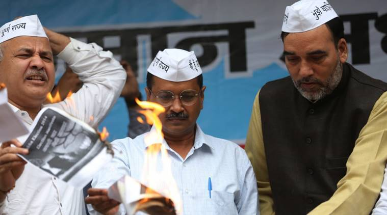 Ahead of elections, AAP, BJP burn each other's election manifesto