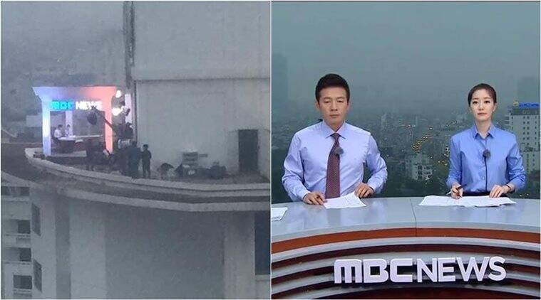 Korean news channel turns roof into makeshift studio to get
