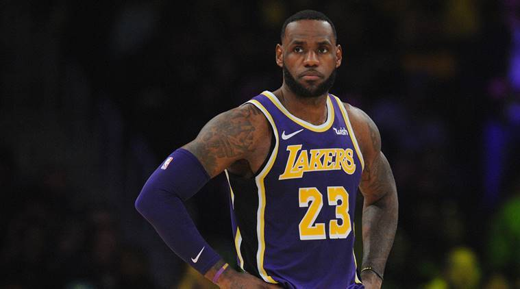 Los Angeles Lakers forward LeBron James (23) during a stoppage in play against the Denver Nuggets in the first half at Staples Center.