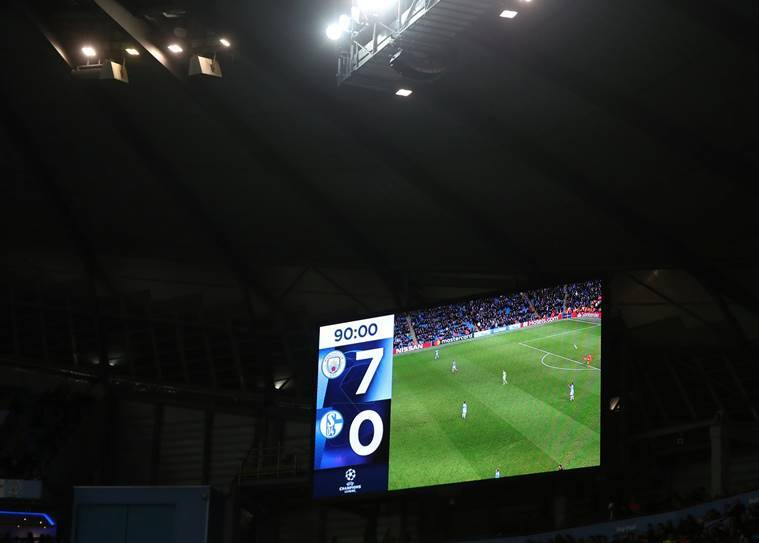 General view of the scoreboard during the match between Manchester City and Schalke