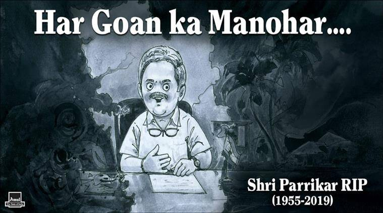 Amul Pays Tribute To Manohar Parrikar With Its Latest Cartoon