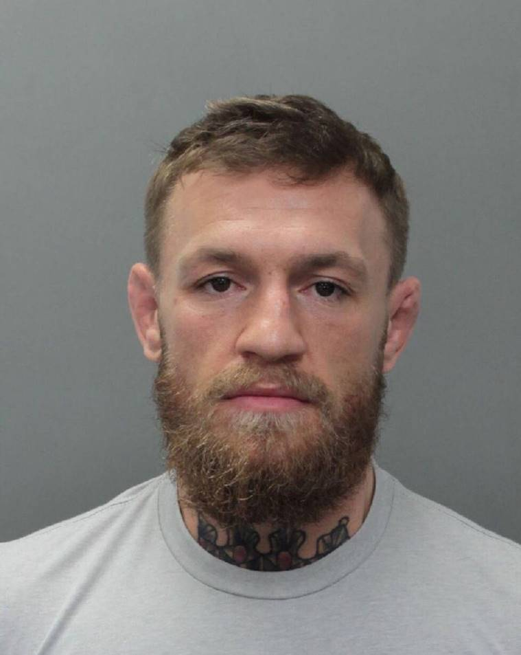 UFC fighter Conor McGregor appears in a police booking photo at Miami-Dade County Jail in Miami, Florida.