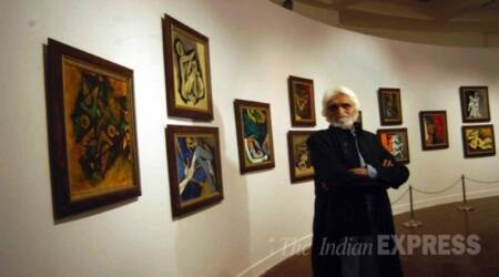 artist M F Husain, M F Husain, Art and the Nation, M f Husain painting, Asia Society Museum, Indian express, indian express news,
