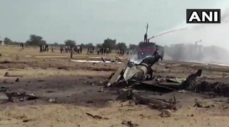 The IAF MiG-21 aircraft crashed in Bikaner district on Friday. (ANI)
