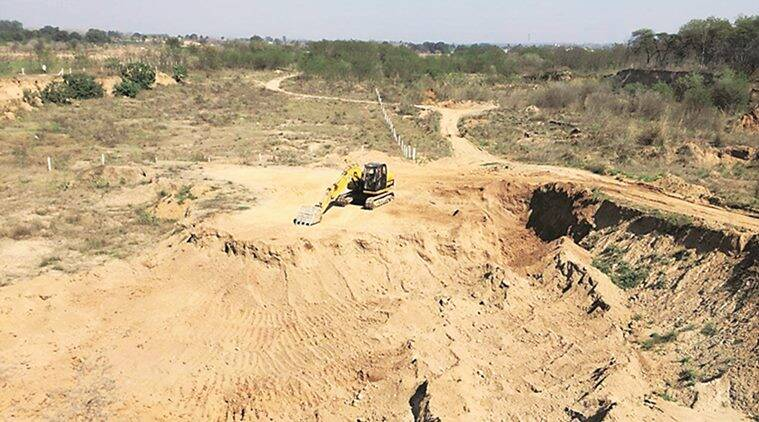 illegal mining, illegal mining in chandigarh, illegal mining khizrabad, panchayat land, trees, police, crushers, indian express news