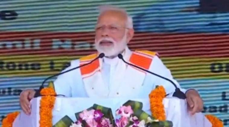 Prime Minister Narendra Modi addresses the rally in Kanyakumari on Friday. (Twitter/@BJPLive)