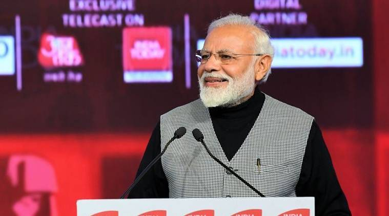 Prime Minister Narendra Modi at the India Today Conclave 2019 in the New Delhi on Saturday. (Twitter/@PIB_India)