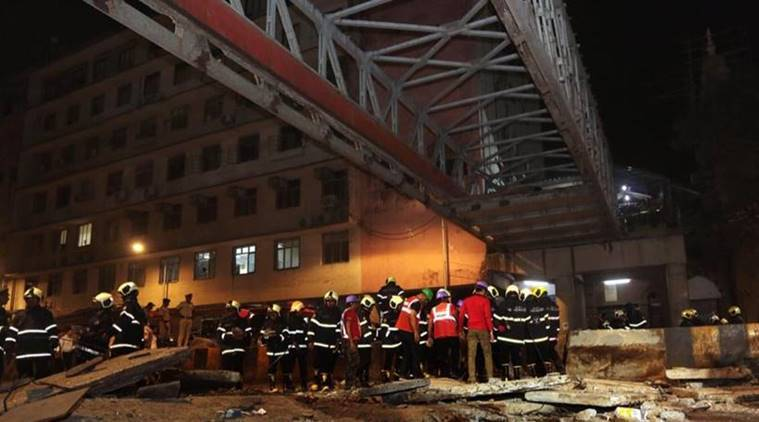 mumbai bridge collapse, foot overbridge collapse mumbai, csmt bridge collapse, mumbai, bmc, brihanmumbai municipal corporation, bmc engineer arrested, police, inquiry, indian express news