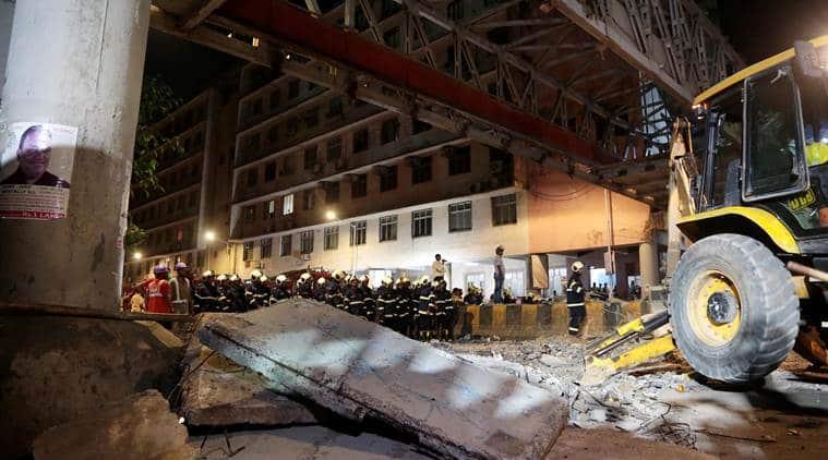 mumbai bridge collapse, mumbai overbridge collapse, overbridge collapse in mumbai, csmt bridge collapse, indian express news