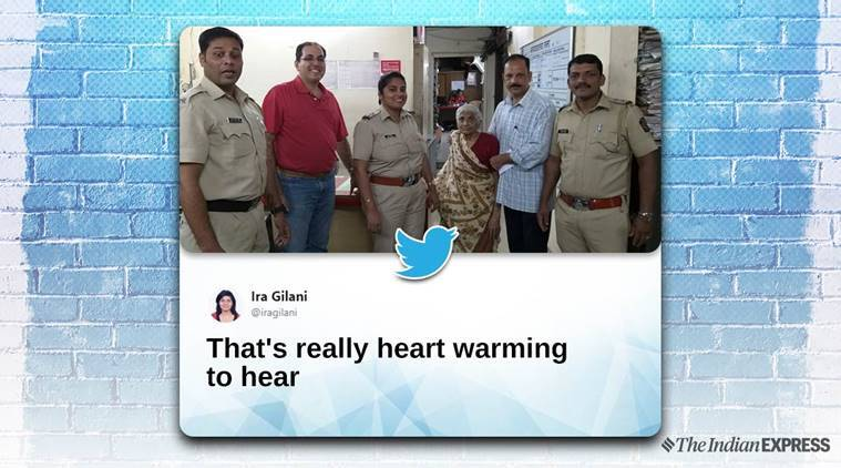 mumbai police, mumbai police missing person, missing person report, women reunited with family, Mumbai, old lady, viral video, trending, indian express, indian express news