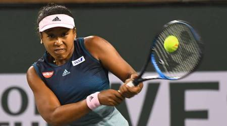 Naomi Osaka (JPN) in her third round match as she defeated Danielle Collins (not pictured) in the BNP Paribas Open at the Indian Wells Tennis Garden.