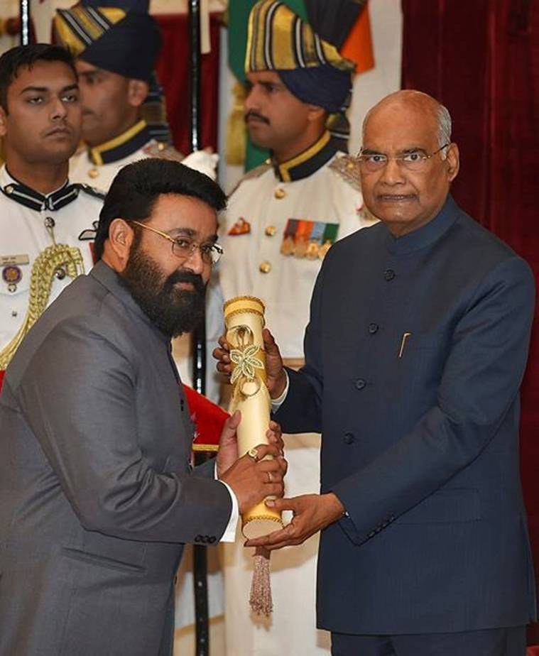 President Ram Nath Kovind conferred Padma Bhushan award upon actor Mohanlal