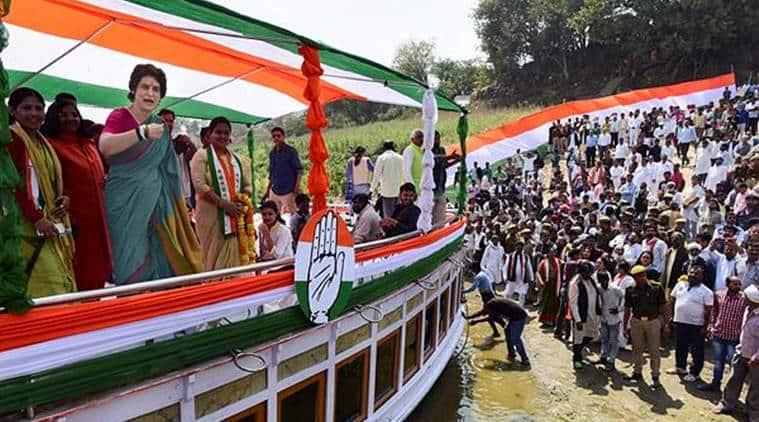 priyanka gandhi, priyanka gandhi rally, priyanka gandhi in UP, priyanka gandhi boat yatra, lok sabha elections, lok sabha elections 2019, rahul gandhi, narendra modi