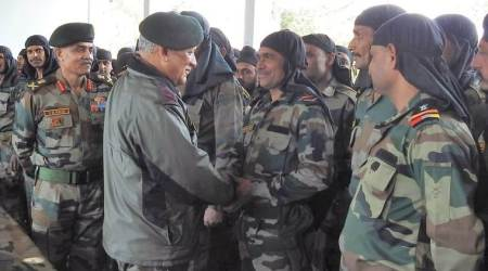 Army Chief Bipin Rawat interacts with the troops in Jammu on Sunday. (Express photo)