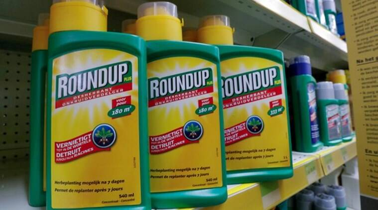 Monsanto's Roundup weedkiller atomizers are displayed for sale at a garden shop near Brussels Belgium