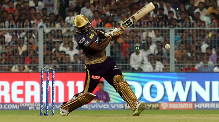 Andre Russell smashed 49 runs in 19 balls. (Express Photo by Partha Paul)