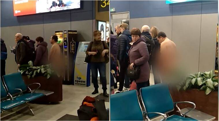 naked man in airport, man catches plane without clothes, viral video, indian express, funny news, odd news