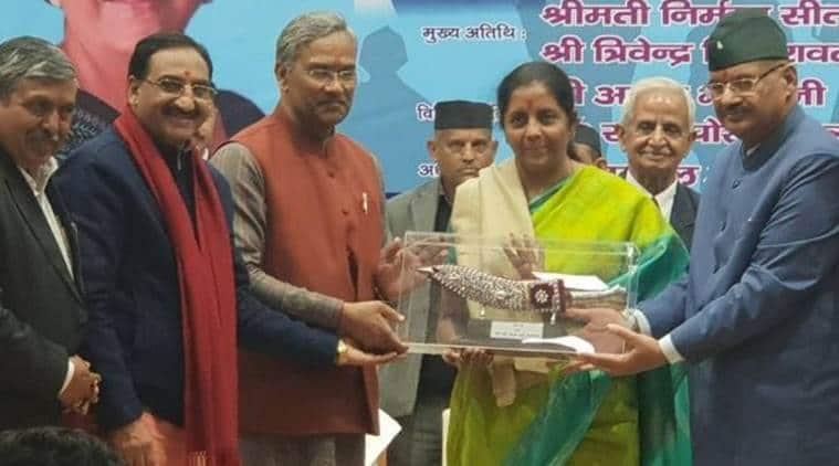 Union Minister Nirmala Sitharaman at the event in Dehradun on Monday. (Twitter/@ganeshjoshibjp)