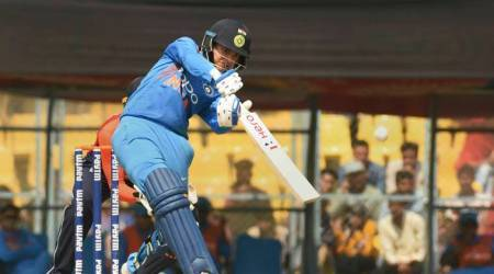 Smriti Mandhana plays a shot during the third T20 International Women's Cricket match against England, at ACA cricket stadium in Guwahati