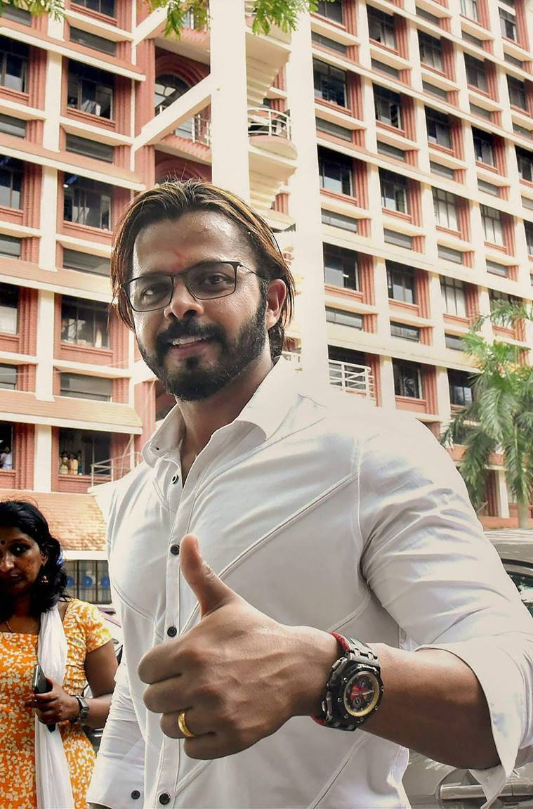 File photo of S Sreesanth outside the Kerala High Court in Kochi.