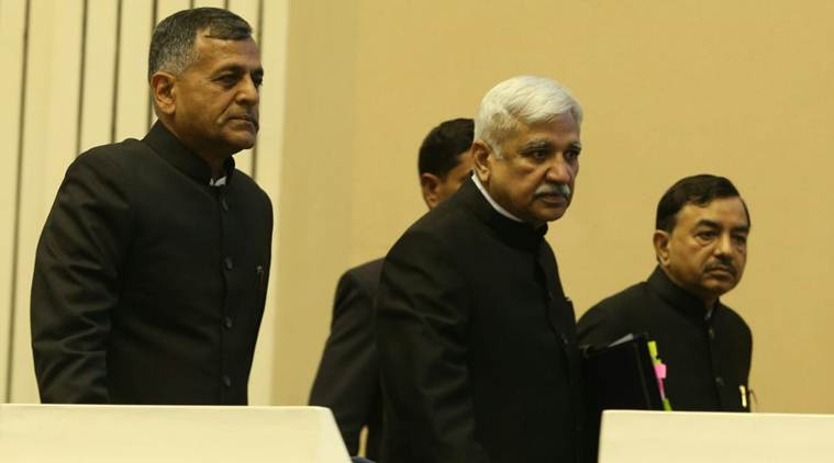 Lok Sabha Election 2019 Date: Chief Election Commissioner Sunil Arora at a press conference. (Express photo/Amit Mehra)