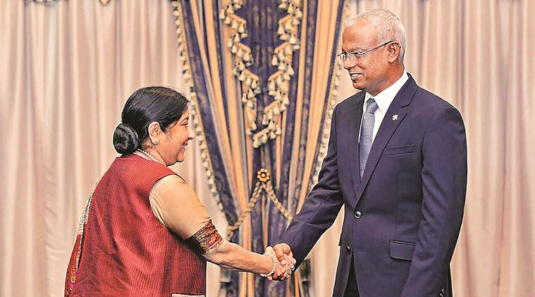 sushma swaraj, maldives, ibrahim mohamed solih, ministry of external affairs, narendra modi, india maldives relations, vijay gokhale, india maldives bilateral relations, indian express news