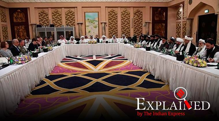 US Special Representative for Afghanistan, Ambassador Zalmay Khalilzad, and Deputy Commander of the Taliban Movement for Political Affairs, Mulla Abdul Ghani Berader (right) during a meeting in Doha. (Qatar Ministry of Foreign Affairs via AP)
