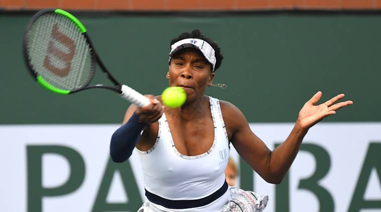 Venus Williams (USA) during her second round match as she defeated Petra Kvitova (not pictured) in the BNP Paribas Open at the Indian Wells Tennis Garden.